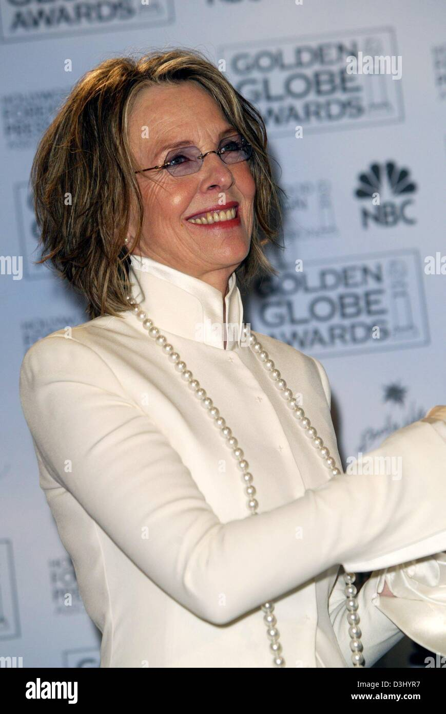 (dpa) - US actress Diane Keaton smiles as she poses after the Golden Globe Awards in Beverly Hills, USA, 25 January - Stock Image