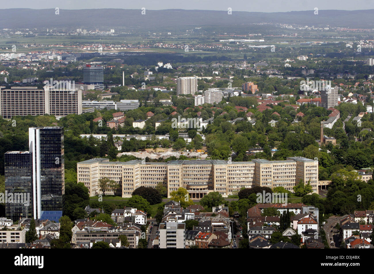 (dpa) - A view of the long-stretched Poelzig Bau (C, bottom), formerly the seat of the IG Fraben chemical group, Stock Photo