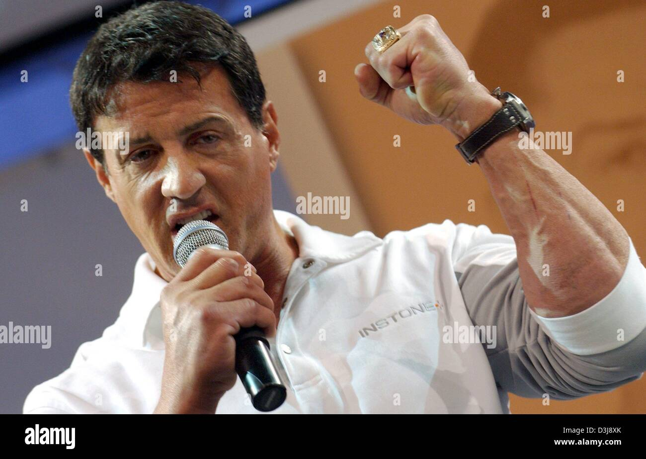 (dpa) - US actor Sylvester Stallone presents the products of his new fitness and health company Instone at the FIBO - Stock Image