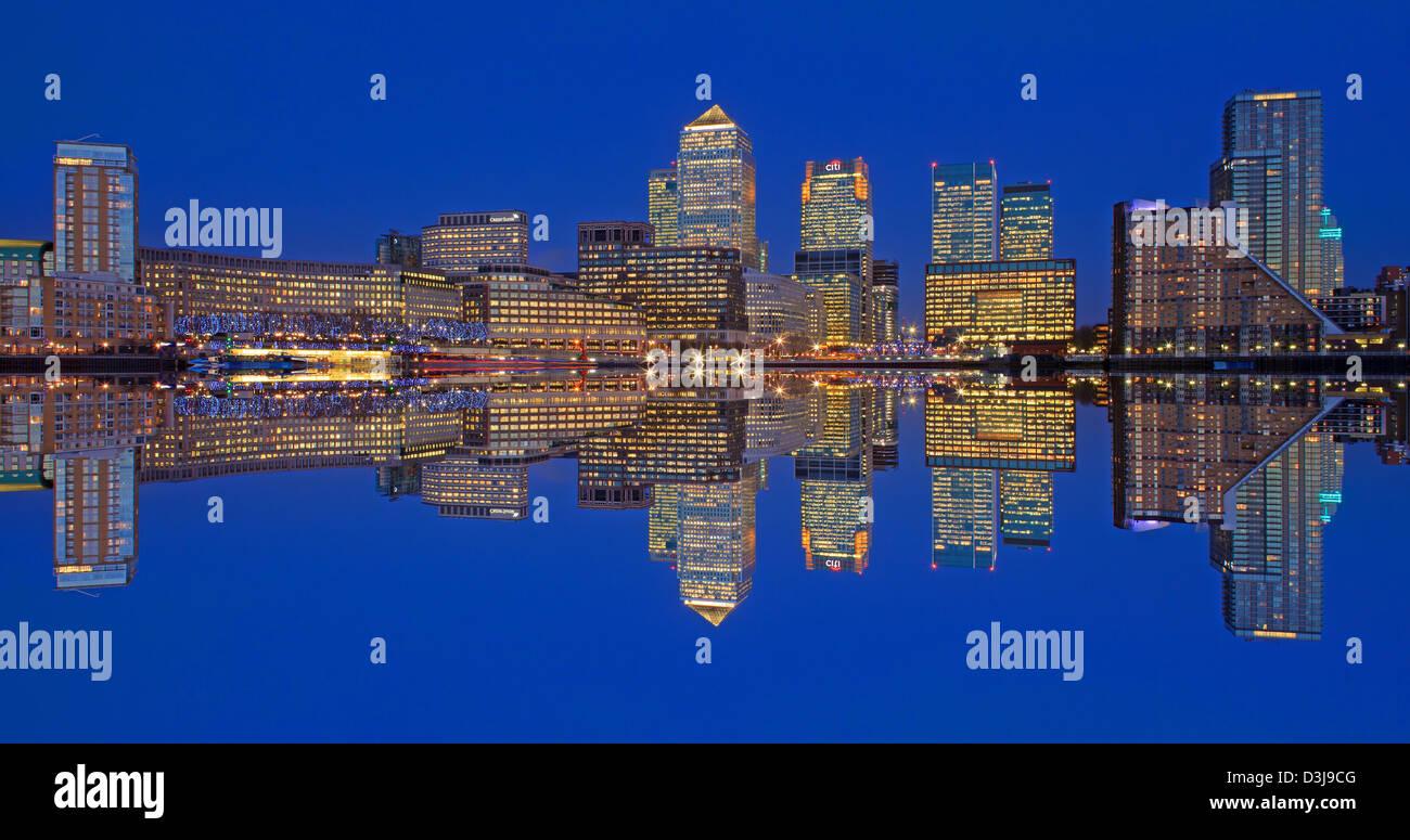 London City Skyline Reflection At Night - Stock Image