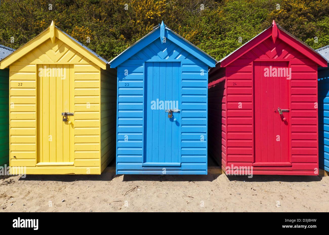Bright painted beach huts on Llanbedrog beach Llyn peninsula Gwynedd North Wales UK GB EU Europe - Stock Image