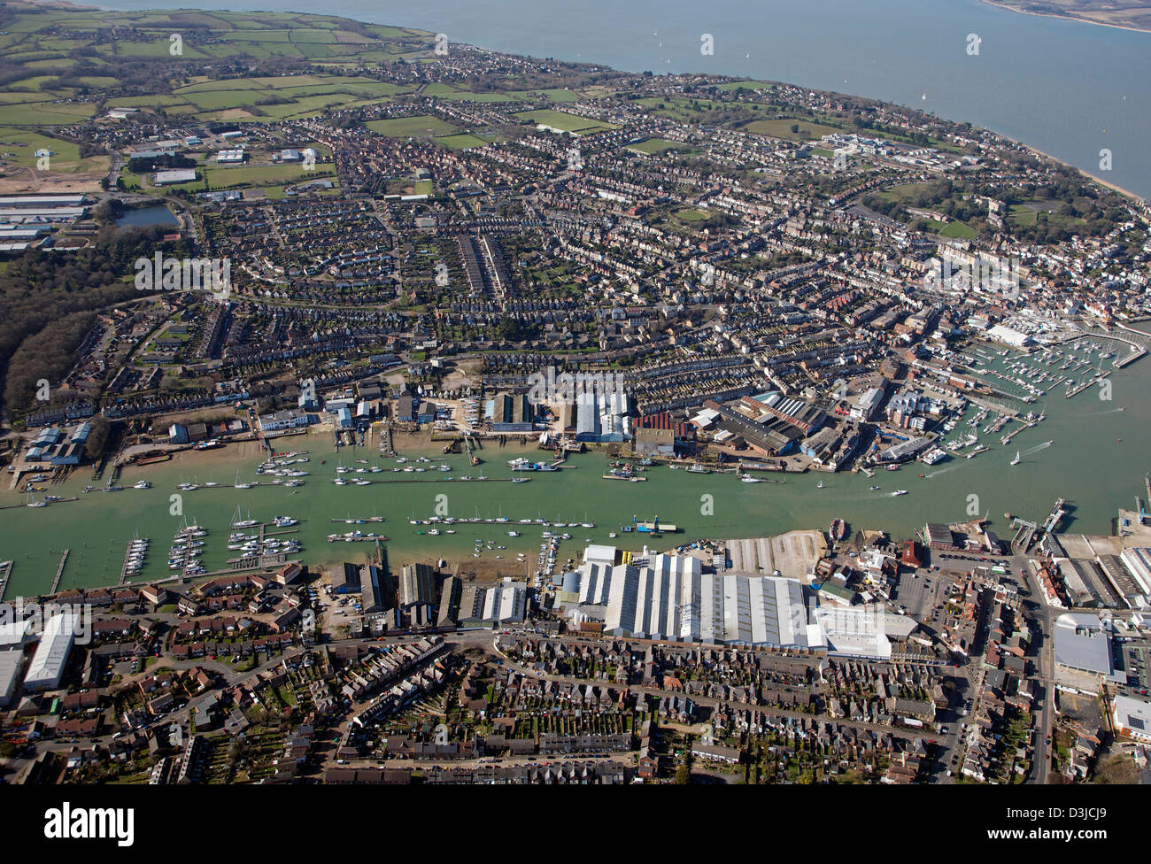 Aerial view of Cowes on the Isle of Wight, and the River Medina estuary flowing into The Solent - Stock Image