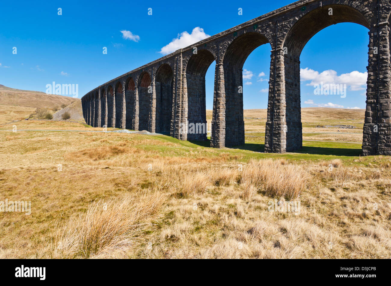 Ribblehead railway viaduct on the Settle to Carlisle rail route, Yorkshire Dales, England, UK, GB, EU, Europe - Stock Image
