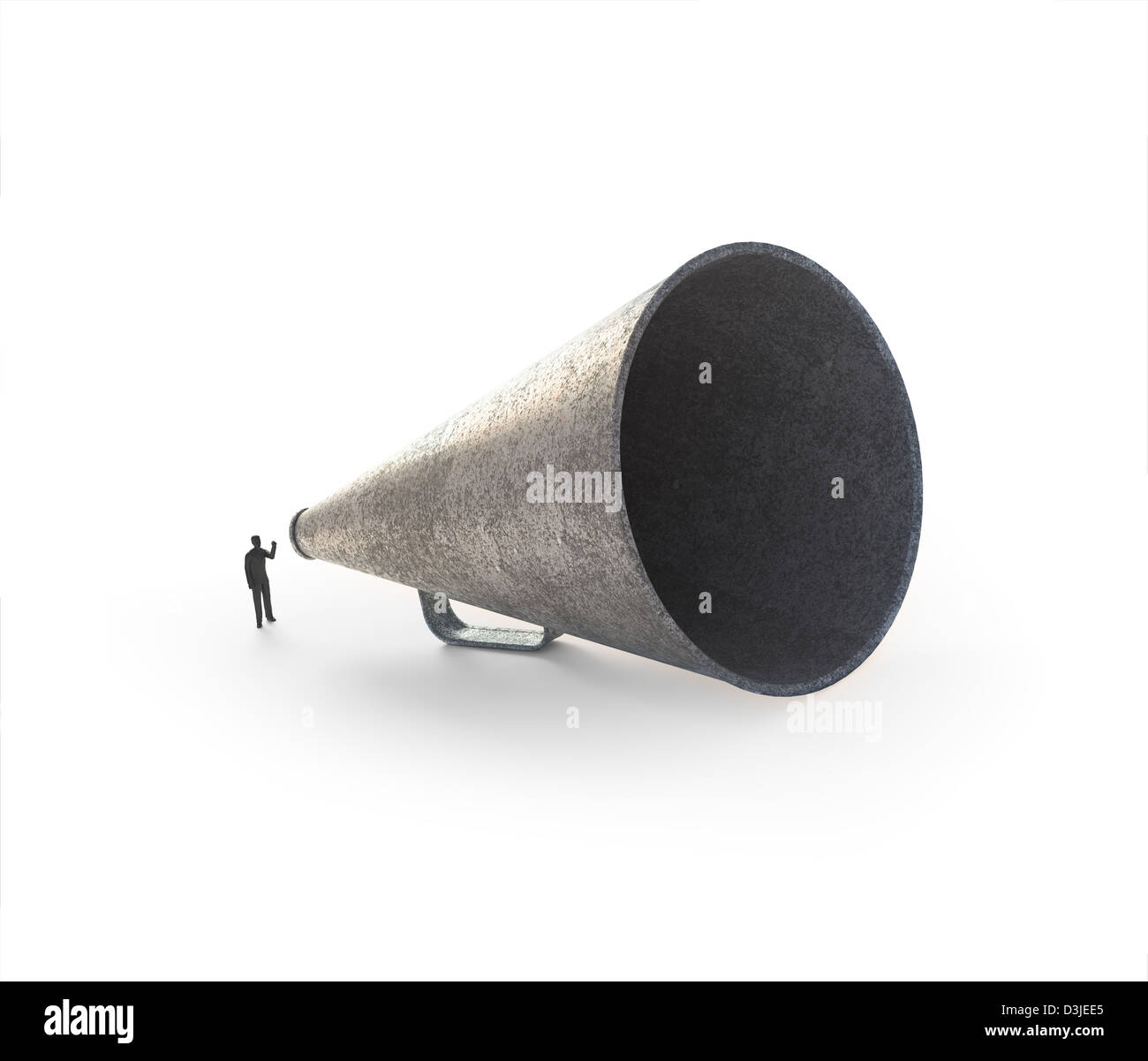 A tiny man speaking through a vintage megaphone - Stock Image