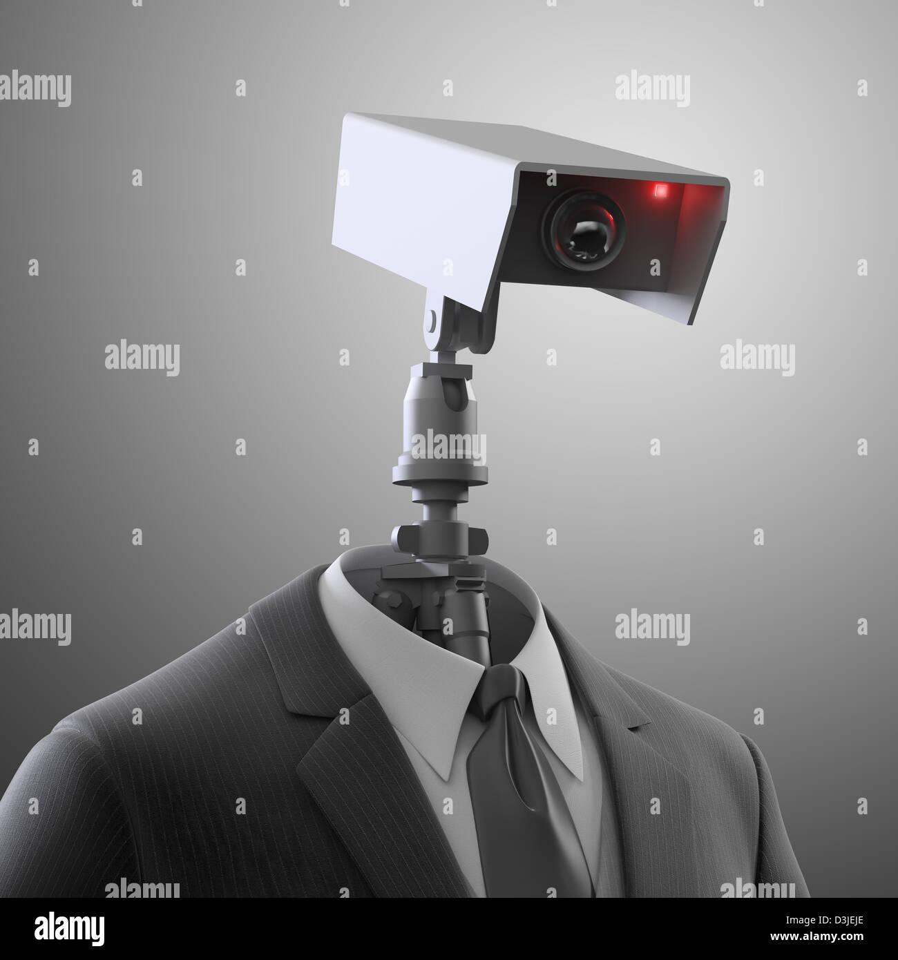 A robotic security camera - automated surveillance Stock Photo