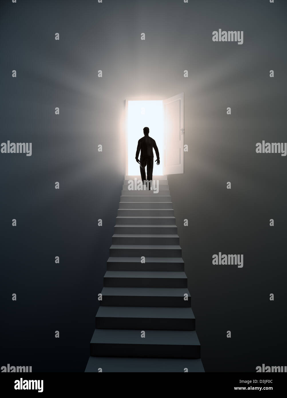 Man walking up the stairs to open doors - Stock Image