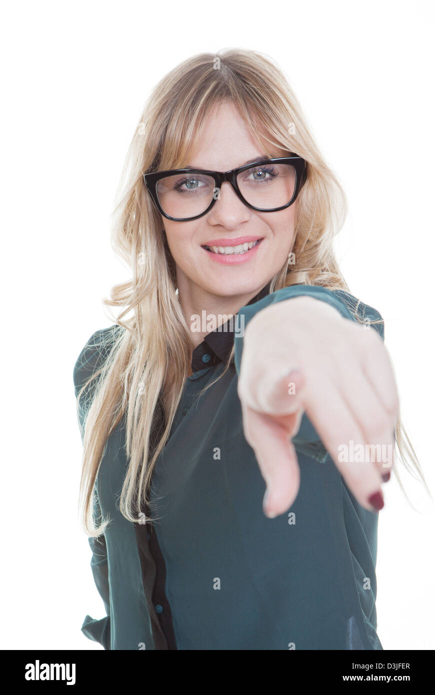 business woman pointing finger showing or demonstrating - Stock Image