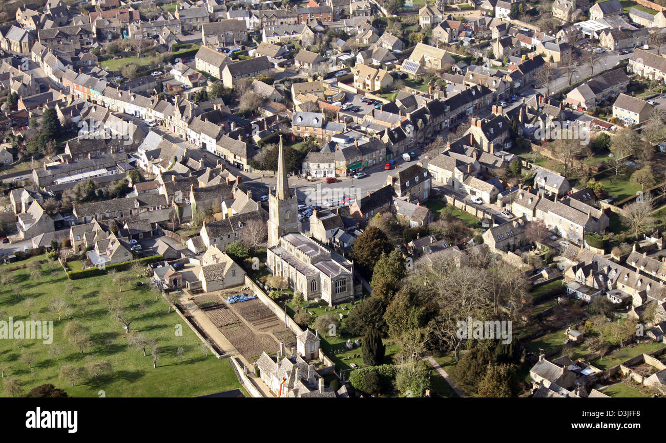 aerial view of Lechlade in Gloucestershire, Lechlade-on-Thames with15th Century parish church of Saint Lawrence Stock Photo