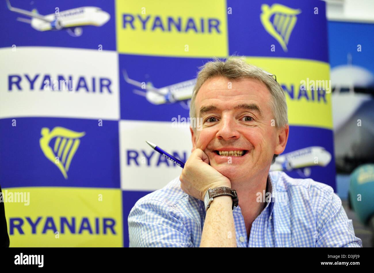Ryanair CEO Michael O'Leary smiles at a press conference at Leipzig/Halle airport in Schkeuditz, Germany, 20 February Stock Photo