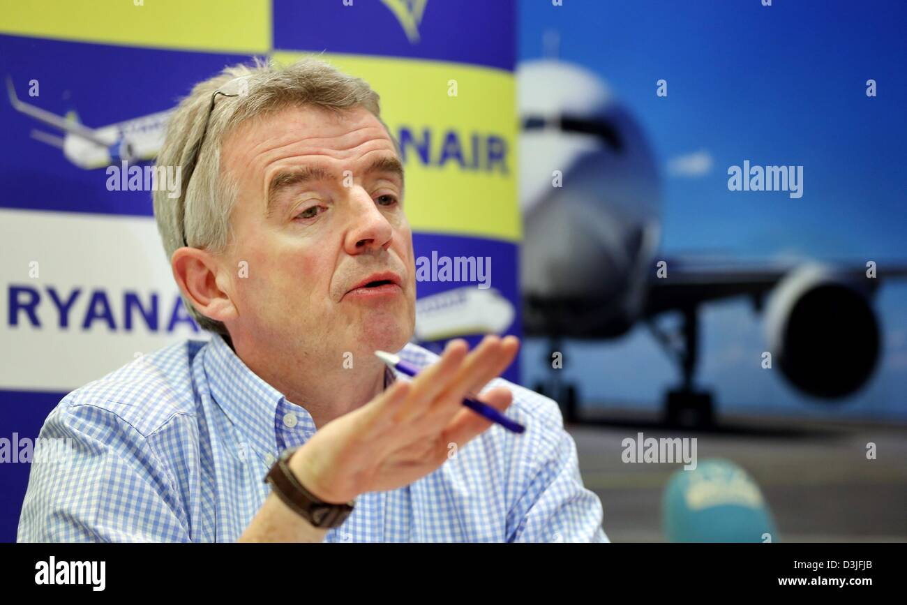 Ryanair CEO Michael O'Leary attends a press conference at Leipzig/Halle airport in Schkeuditz, Germany, 20 February Stock Photo