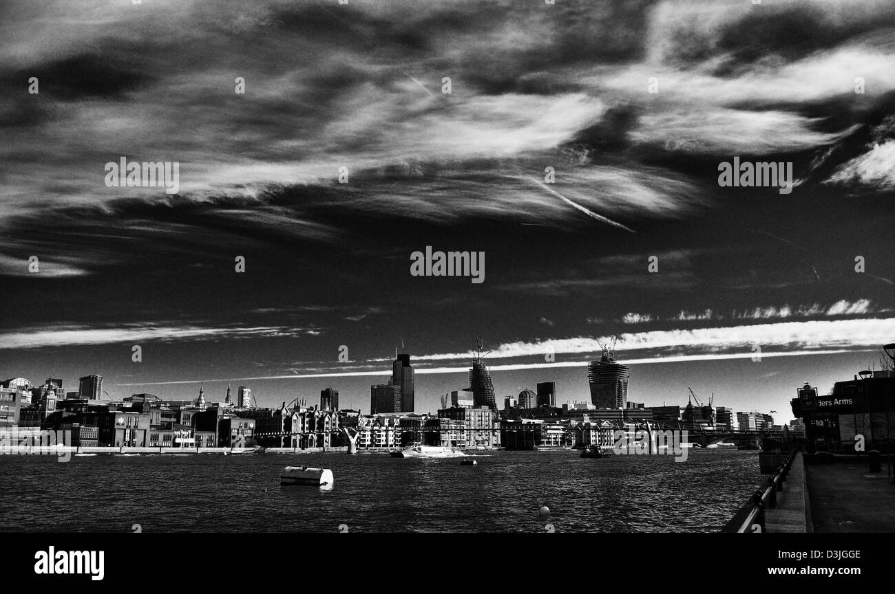 London, River Thames in black and white - Stock Image