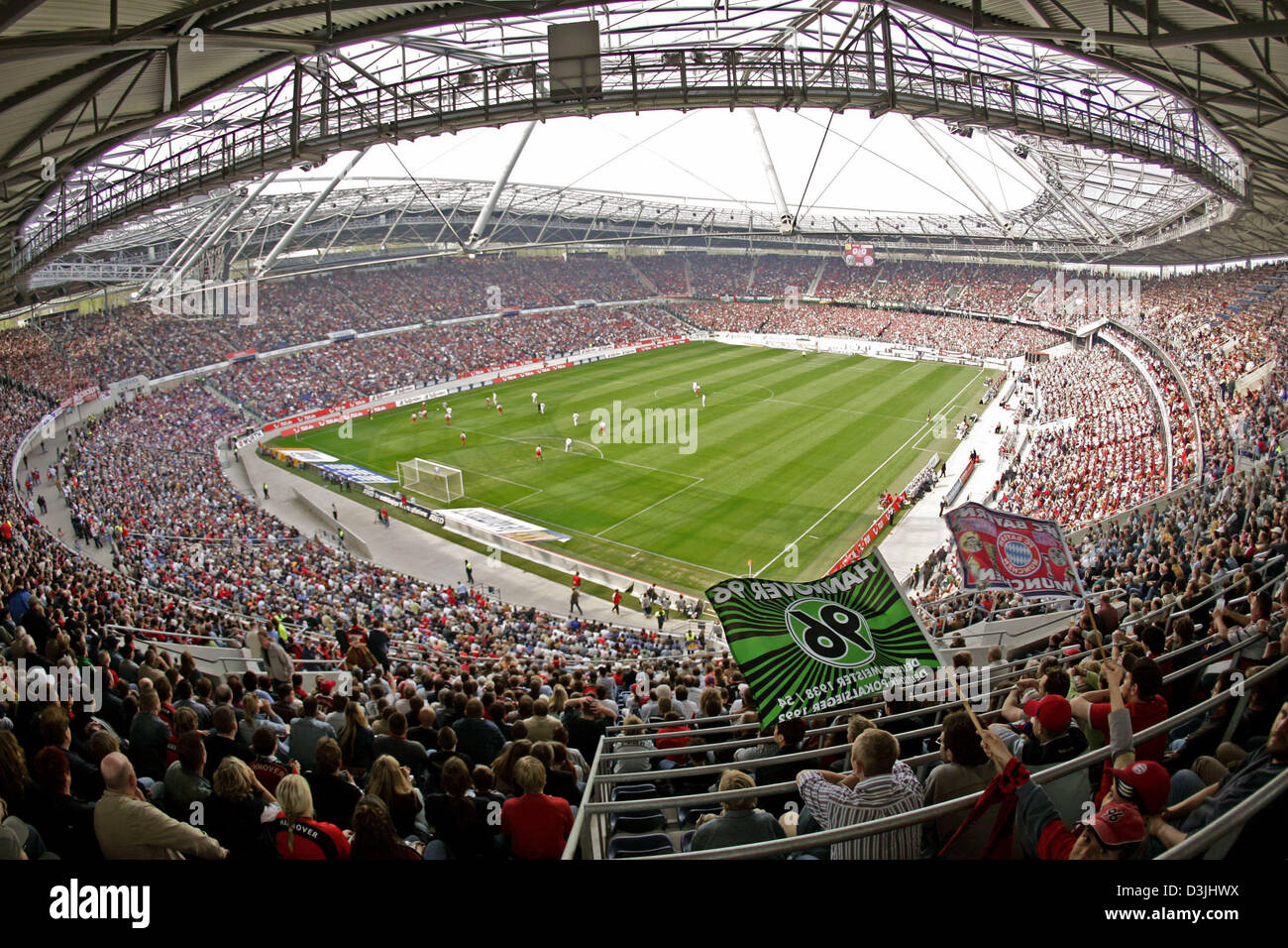 (dpa) - German Bundesliga soccer match Hannover 96 vs. FC Bayern Munich. For the first time since its opening every - Stock Image