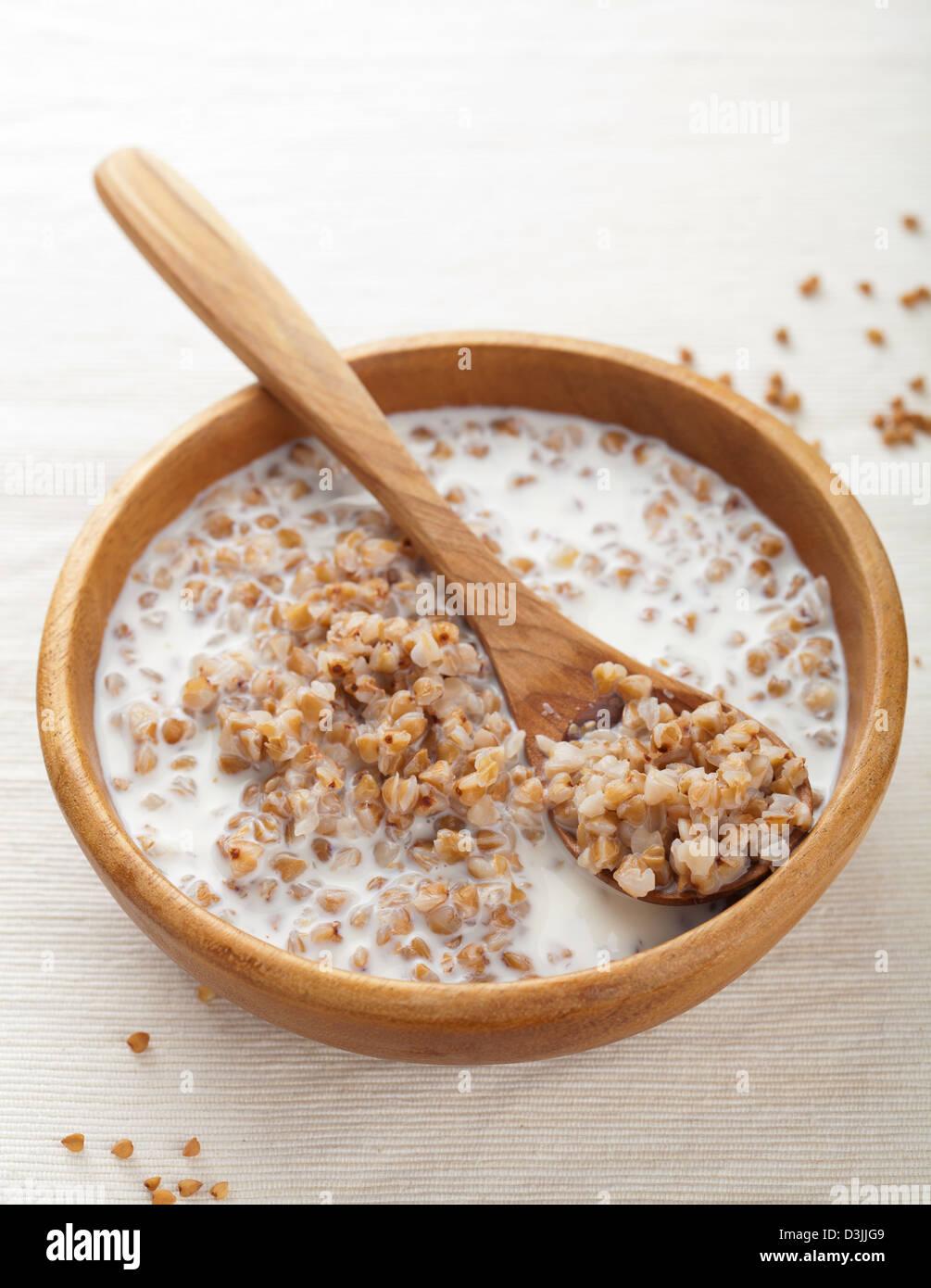 buckwheat groats with milk - Stock Image