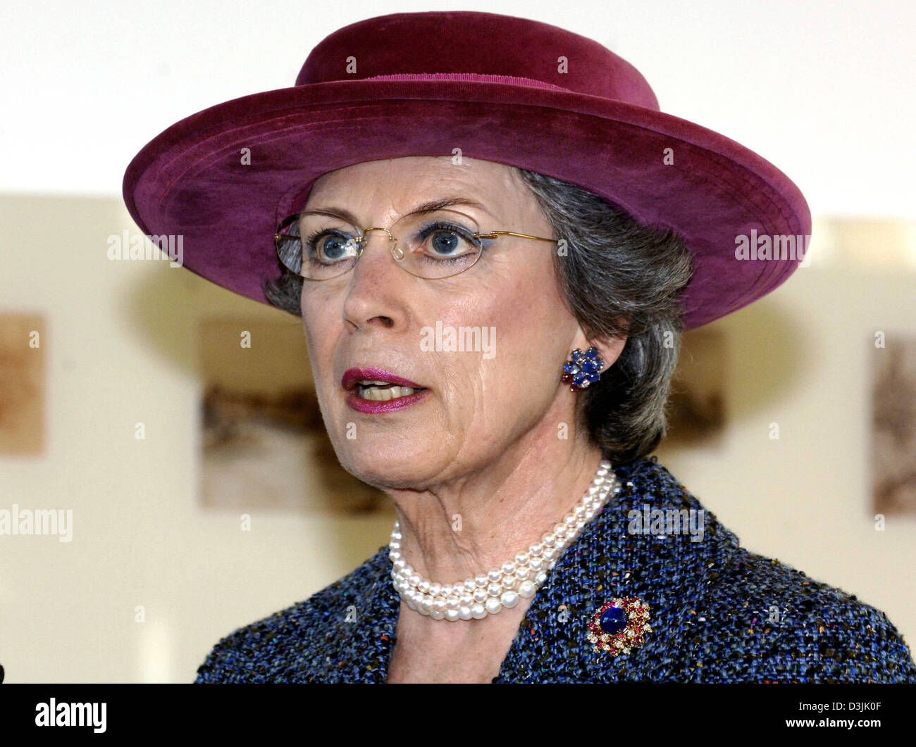 (dpa) - Princess Benedikte of Denmark pictured at the Hans-Christian-Andersen exhibition on the occasion of Andersen's - Stock Image