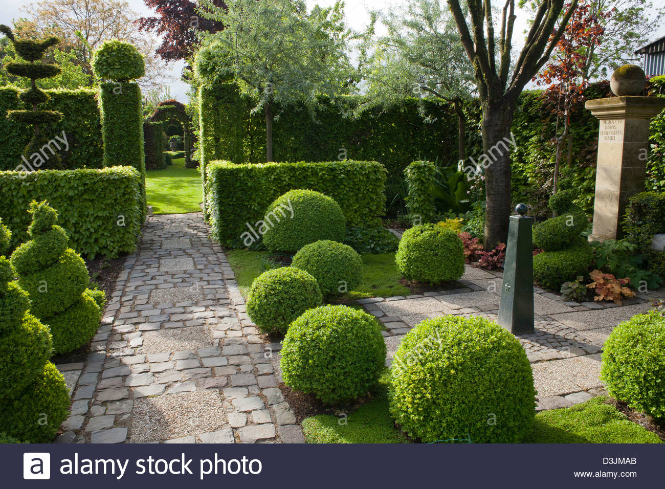 Formal Country Garden With Topiary.   Stock Image