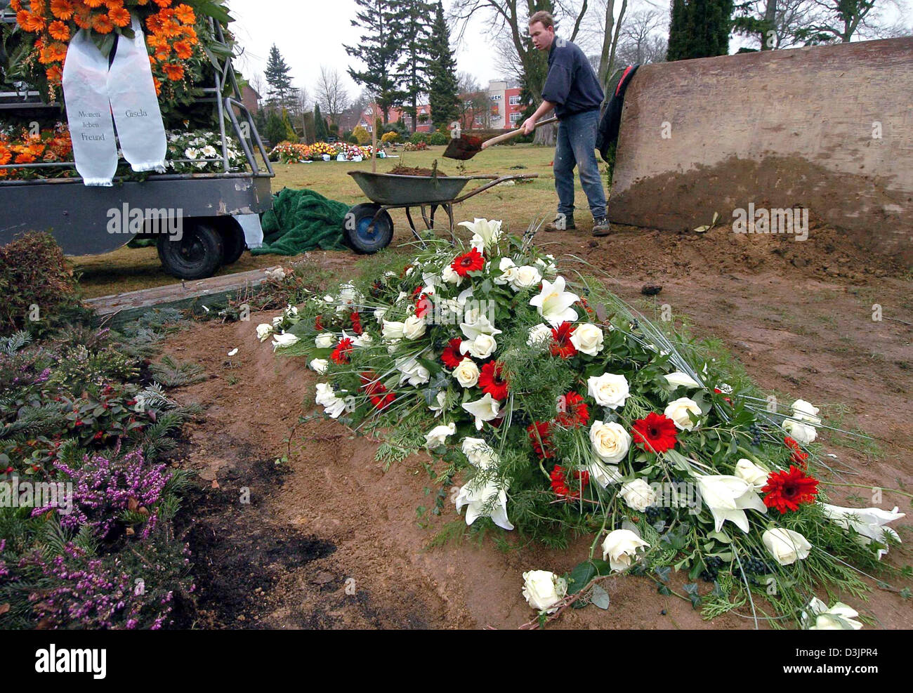 Sports Spo People Grave Flowers Funeral Germany Stock Photos