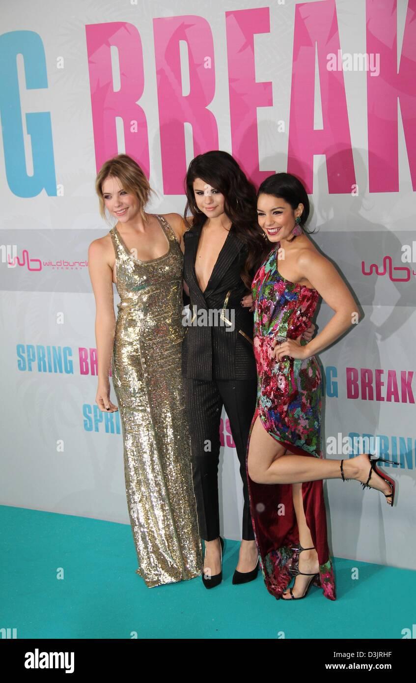 Berlin, Germany. 19th February 2013. Ashley Benson, Selena Gomez and Vanessa Hudgens at the Premiere of 'Spring - Stock Image