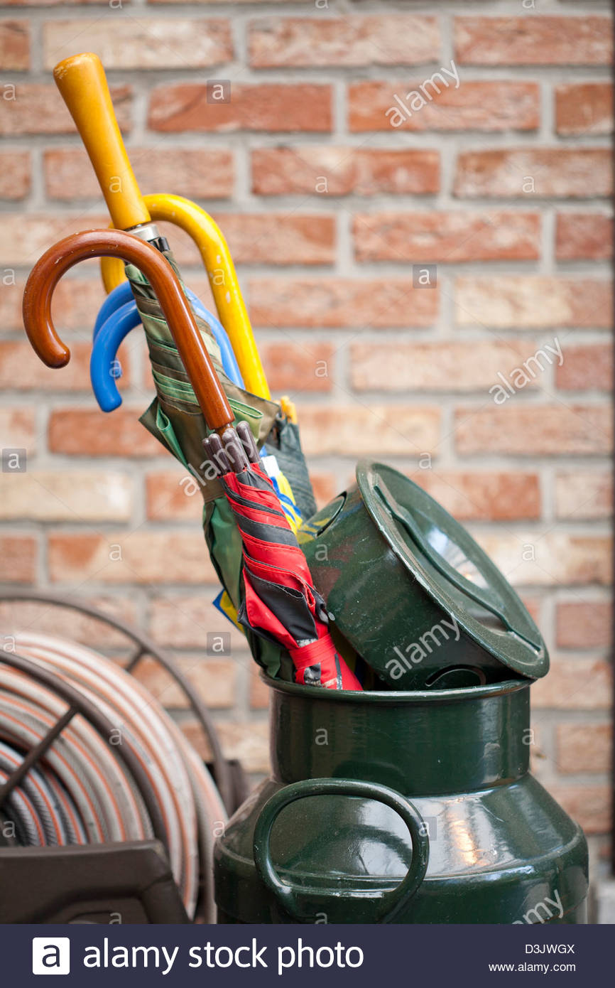 Milk Can As A Umbrella Stand Stock Photo 53890282 Alamy
