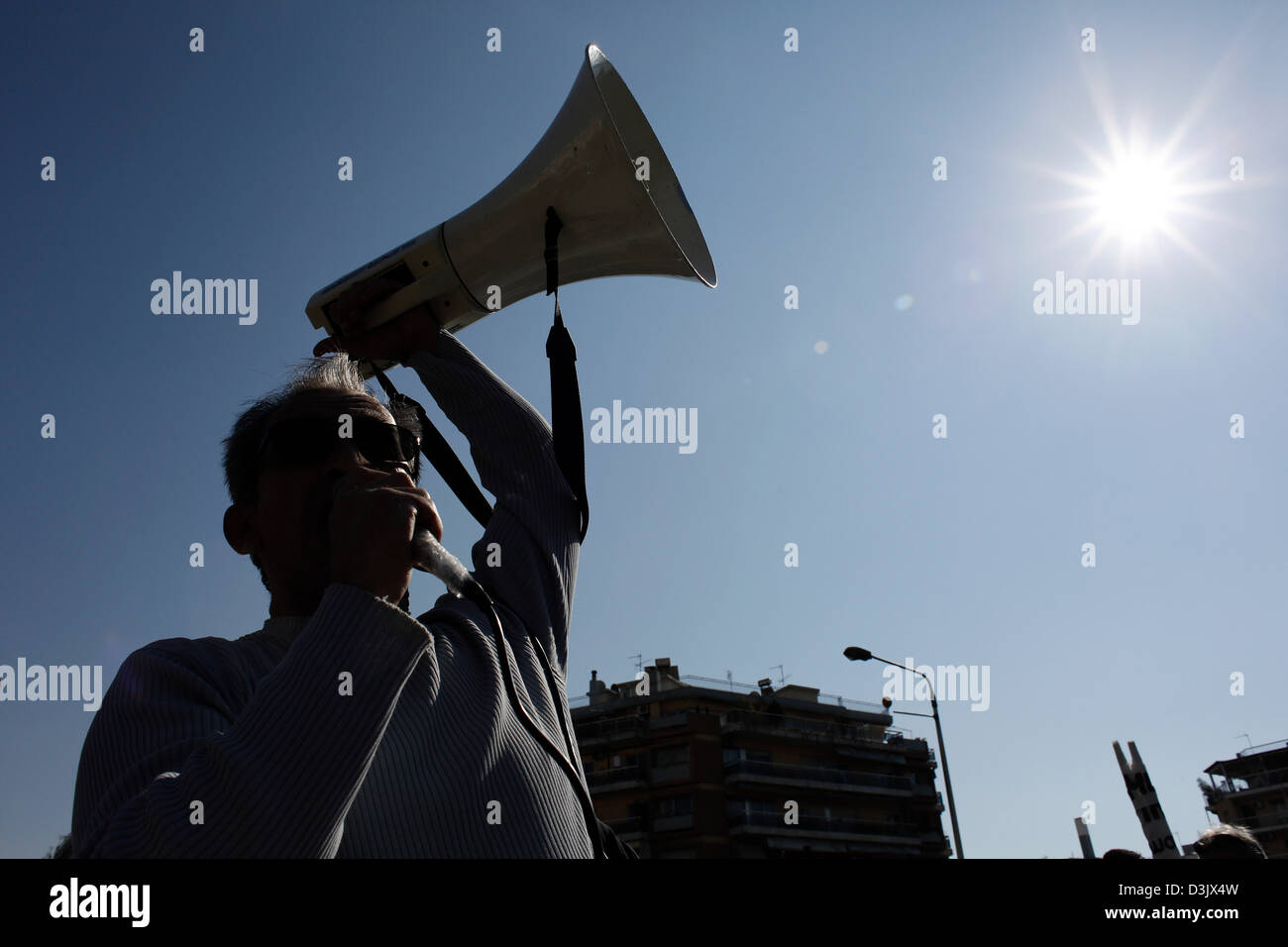 Thessaloniki, Greece. 20th February 2013. Protester shout slogans with a loud hailer. Greece's largest labour - Stock Image