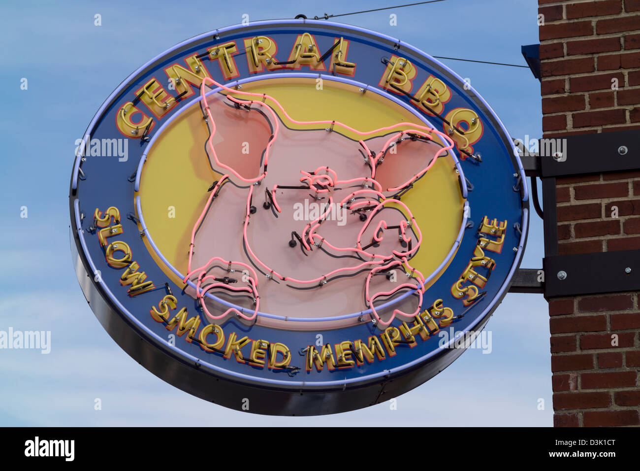 The neon sign outside of Central BBQ in Memphis, Tennessee. - Stock Image