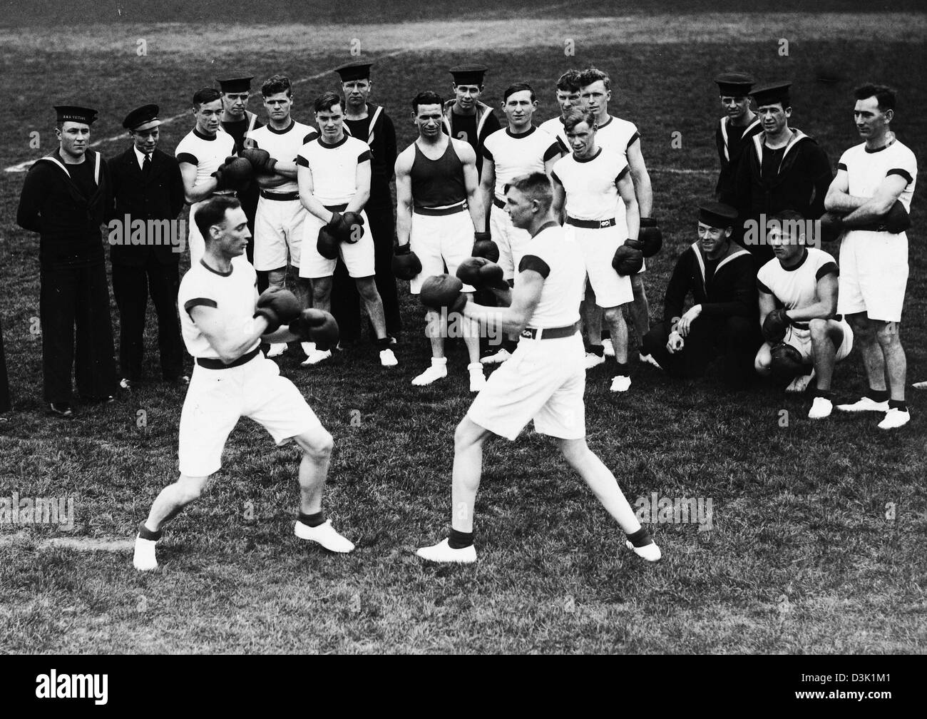 Royal Navy boxing C.1939 - Stock Image