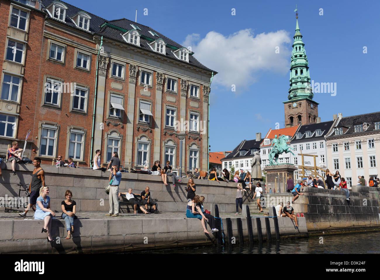 Copenhagen, Denmark, Frederik Kanal with tower of St. Nicholas Church - Stock Image