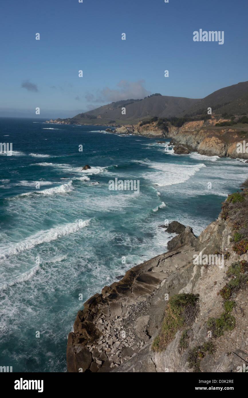 Big Sur coastline along Highway 1 between Los Angeles and San Francisco USA - Stock Image
