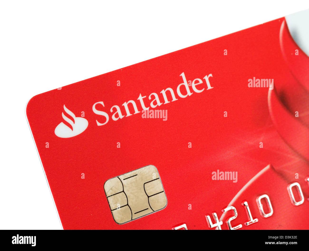 Santander Bank VISA debit card issued in the UK - Stock Image