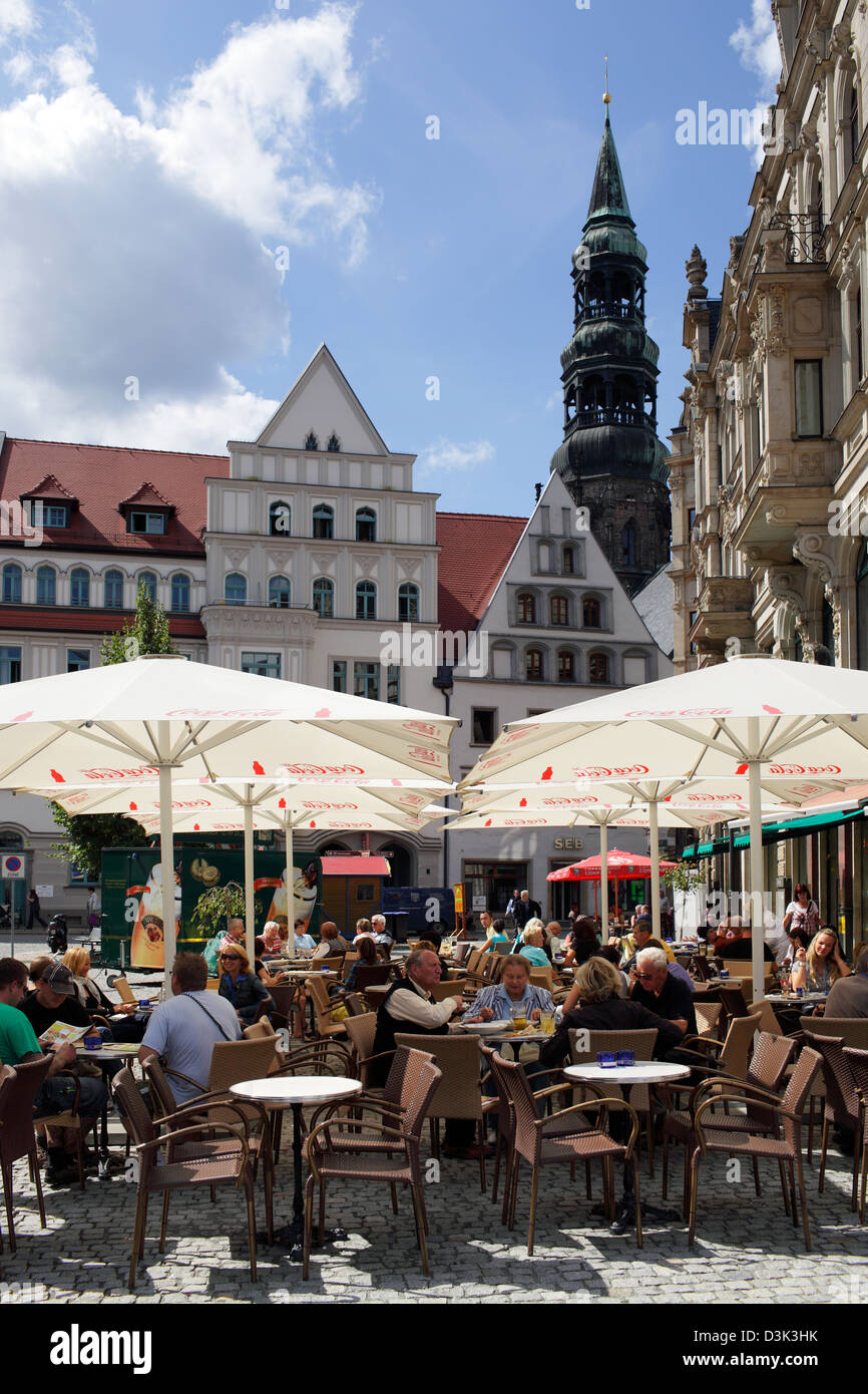 Zwickau Germany Guests In Street Cafes On The Main Market Stock