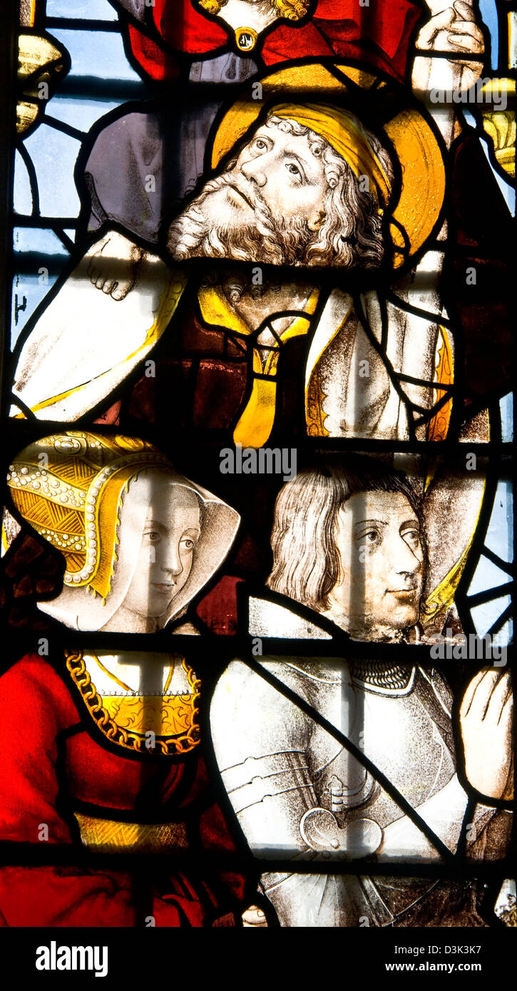 Stained glass window in grade 1 listed 16th-century King's College Chapel Cambridge Cambridgeshire England Europe Stock Photo