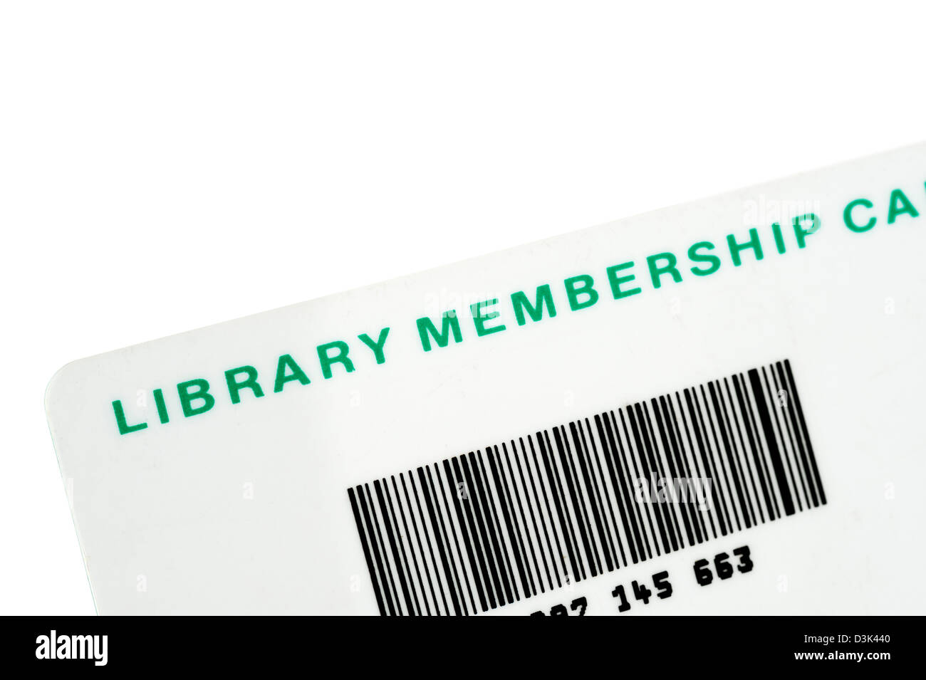 An English local authority Library Membership Card, UK - Stock Image
