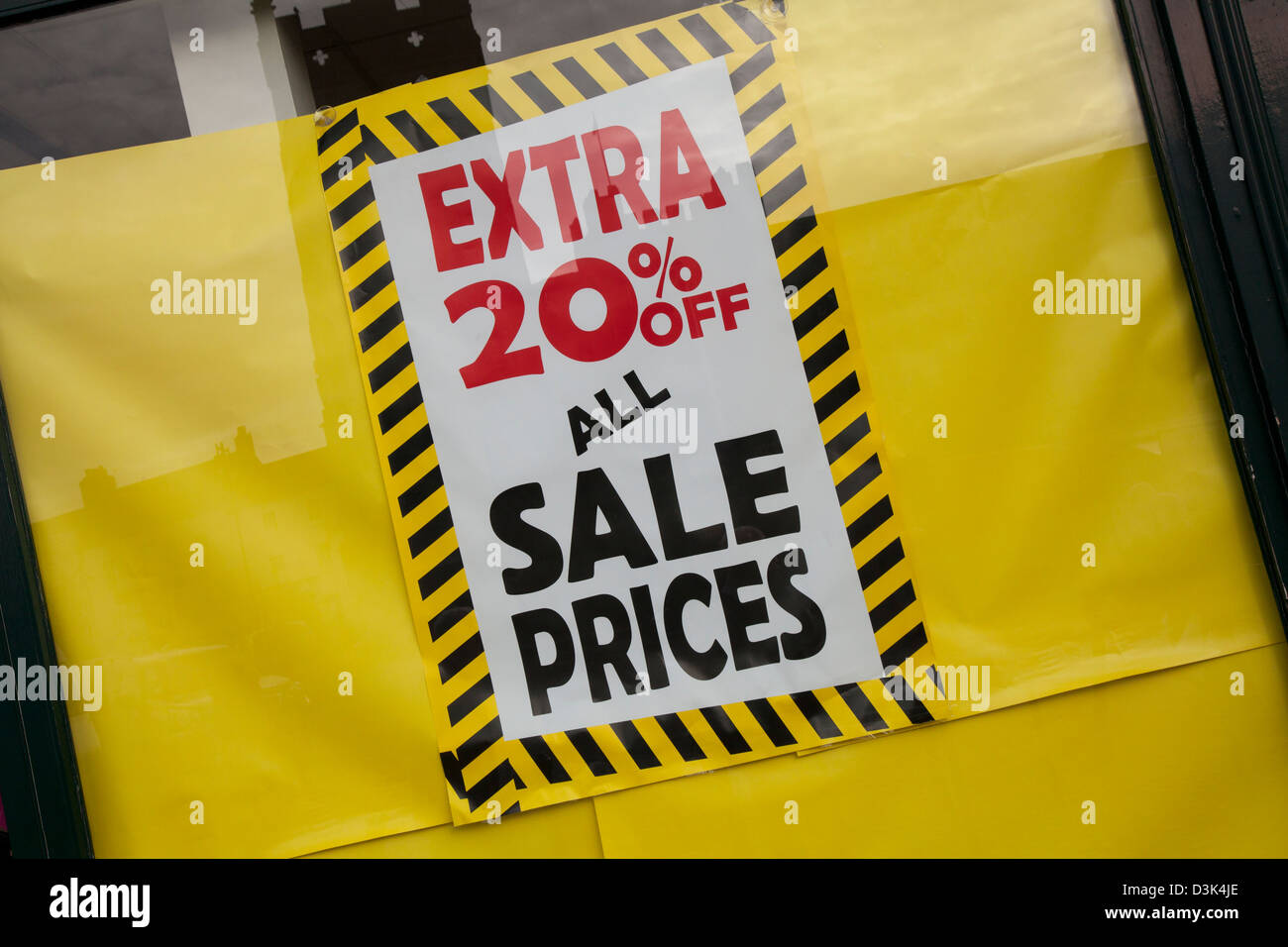 Extra 20% of all prices, Sale poster in window of Stead and Simpson, Richmond, UK - Stock Image
