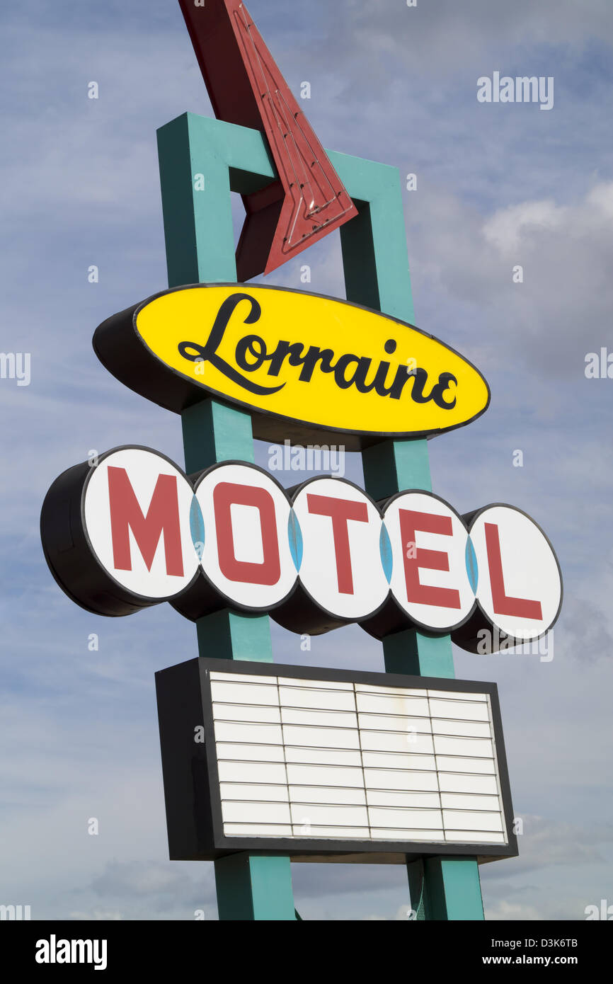A sign for the Lorraine Motel, site of the National Civil Rights Museum in the historic district of Memphis, Tennessee. Stock Photo