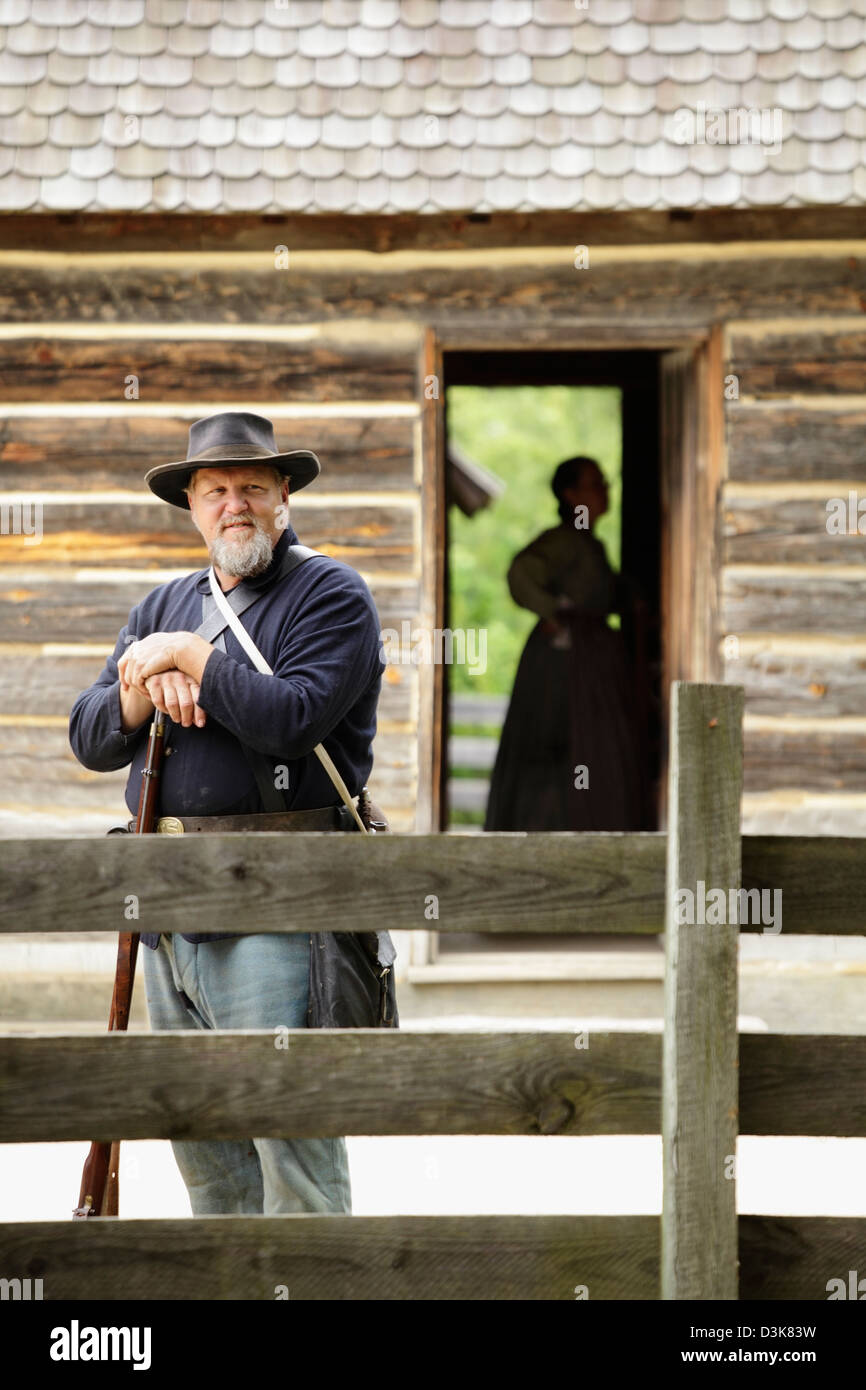 An American Civil War reenactment at Bennett Place State Historic Site, Durham, North Carolina, USA - Stock Image