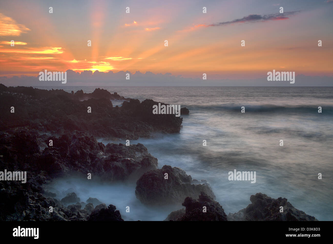 Sunset with God's rays. The Kohala Coast. The Big Island, Hawaii. Stock Photo