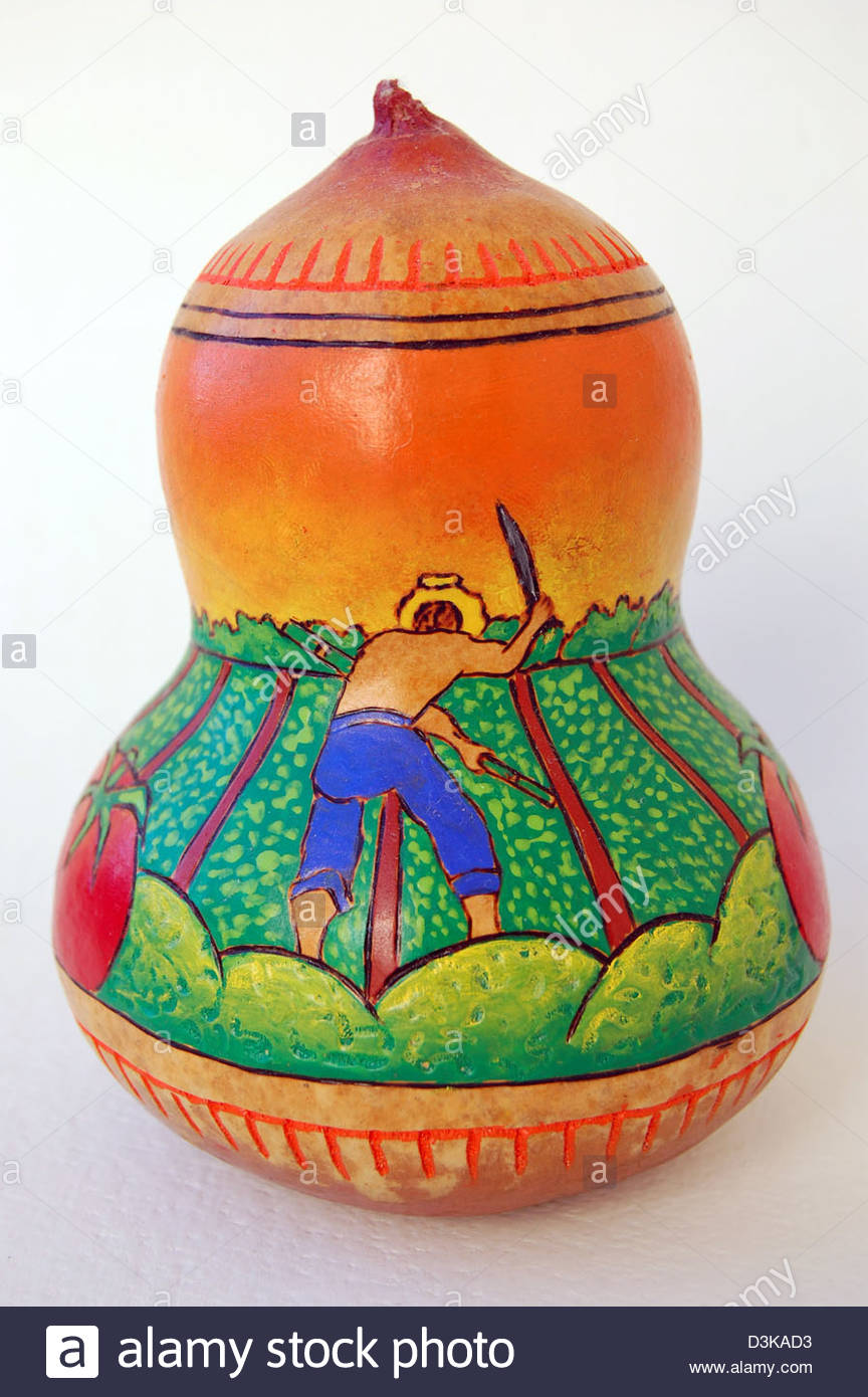 Mexican gourd squash hand painted with folk art like image of worker ...