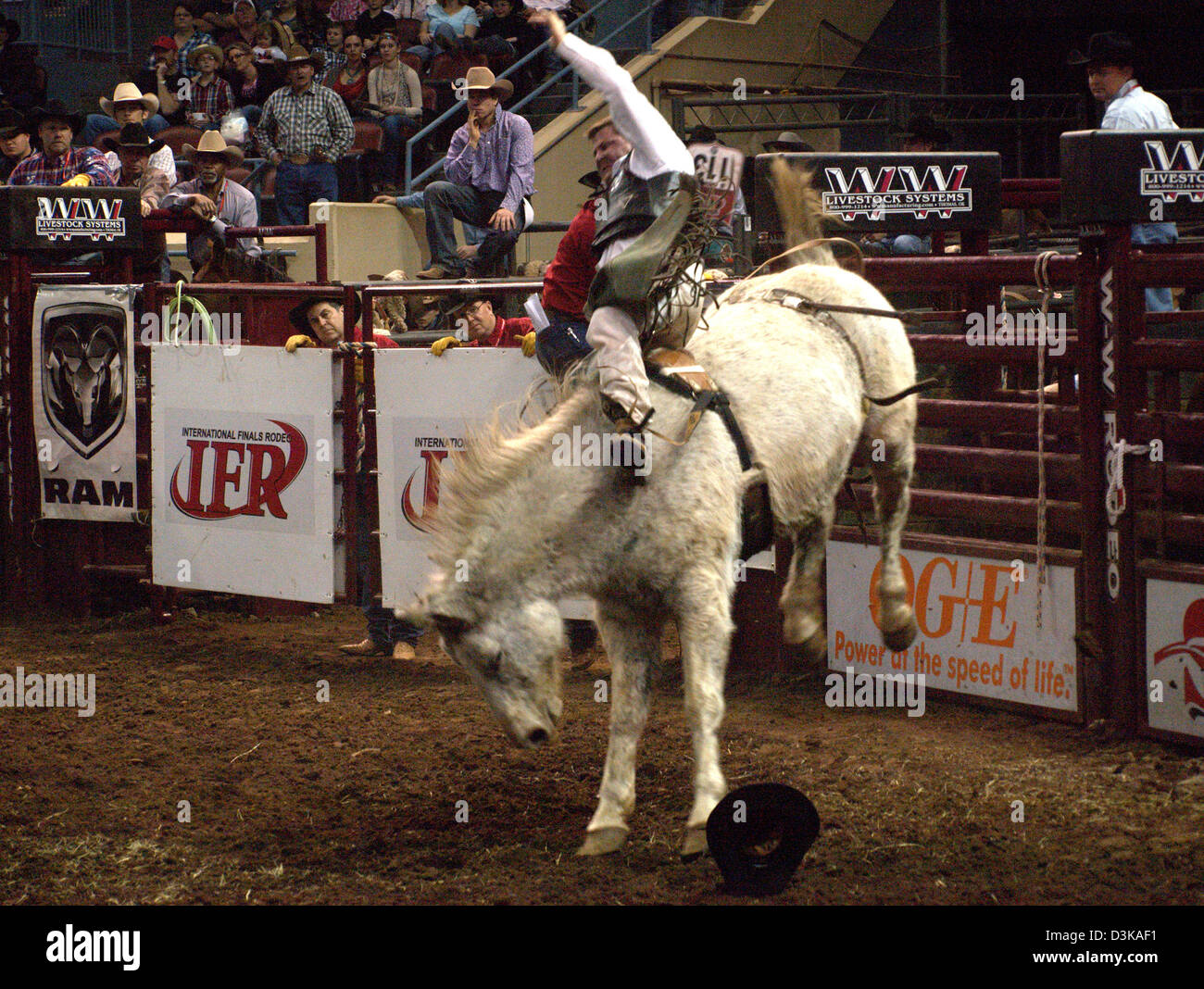 Cowboy Riding Bucking Bronco Horse During The National Finals Rodeo Stock Photo Alamy