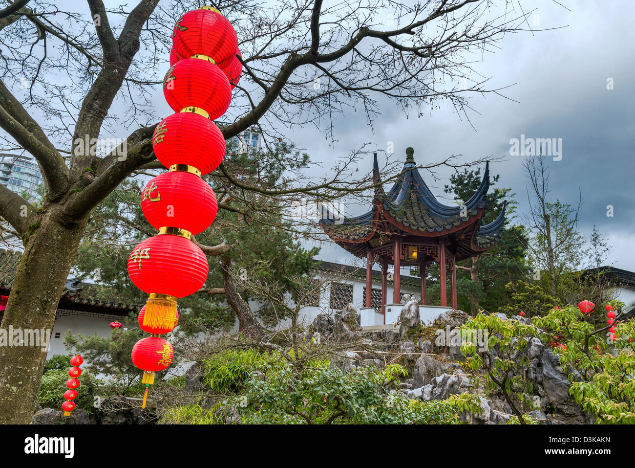 Red lanterns decorate, Dr Sun Yat Sen Garden for Chinese New Year, Chinatown, Vancouver, British Columbia, Canada Stock Photo