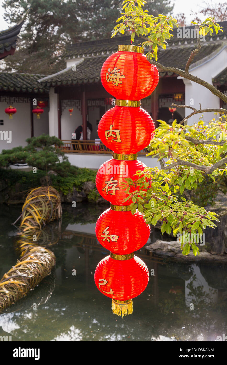Red lanterns decorate, Dr Sun Yat Sen Garden for Chinese New Year, Chinatown, Vancouver, British Columbia, Canada - Stock Image