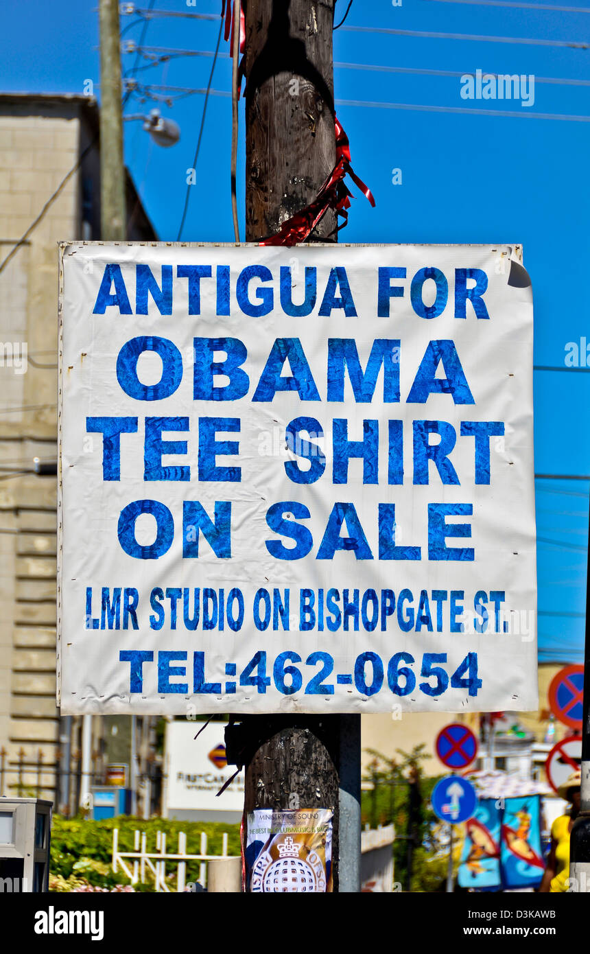 Antigua for Obama tee shirt on sale poster sign in the Caribbean. - Stock Image