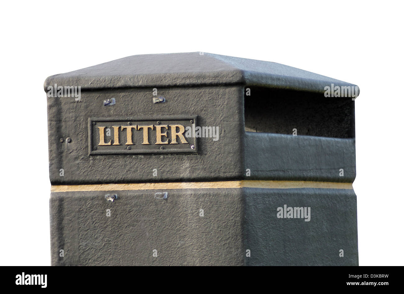 Litter bin isolated on a white background. - Stock Image
