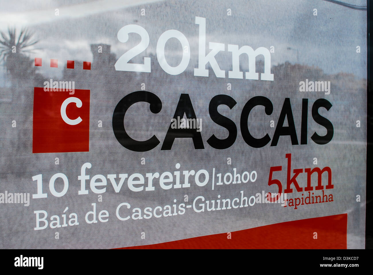 Cascais 20km running poster in Portugal Stock Photo