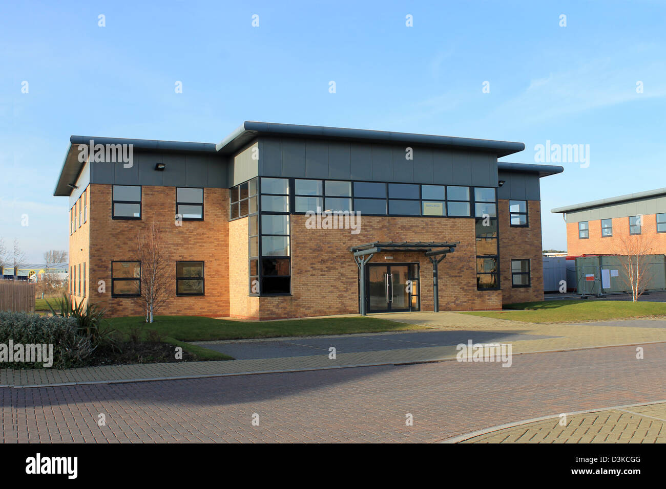 exterior office. Exterior Of Empty Modern Office Building To Let On Business Park. T