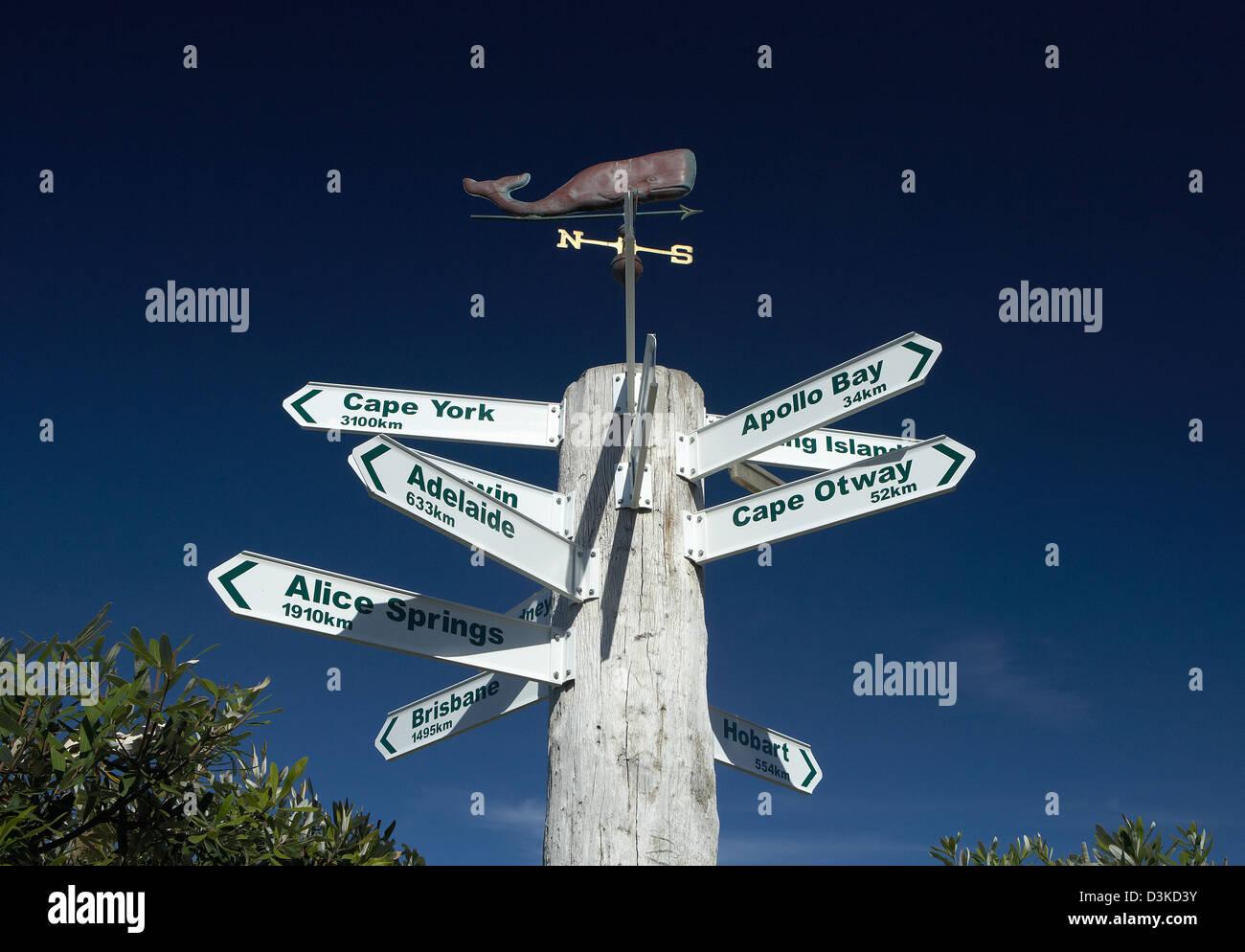 Lorne, Australia, signs indicate the distances of Australian cities - Stock Image