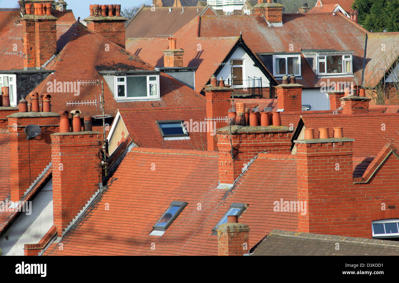 Red tiled roofs of modern houses in Scarborough, England. - Stock Image