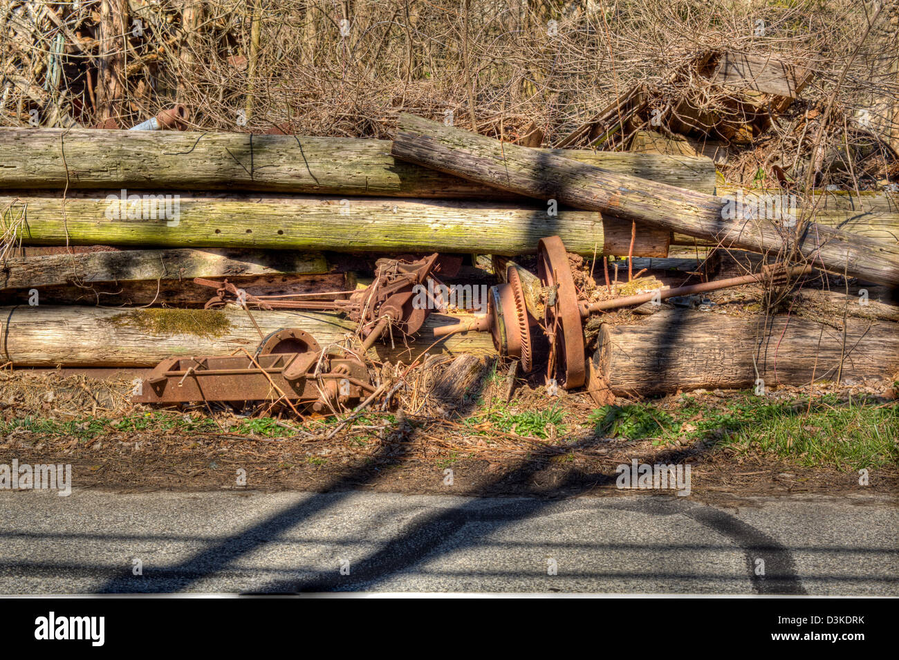 ' Junk Rusting Wheel and shaft ' - Stock Image