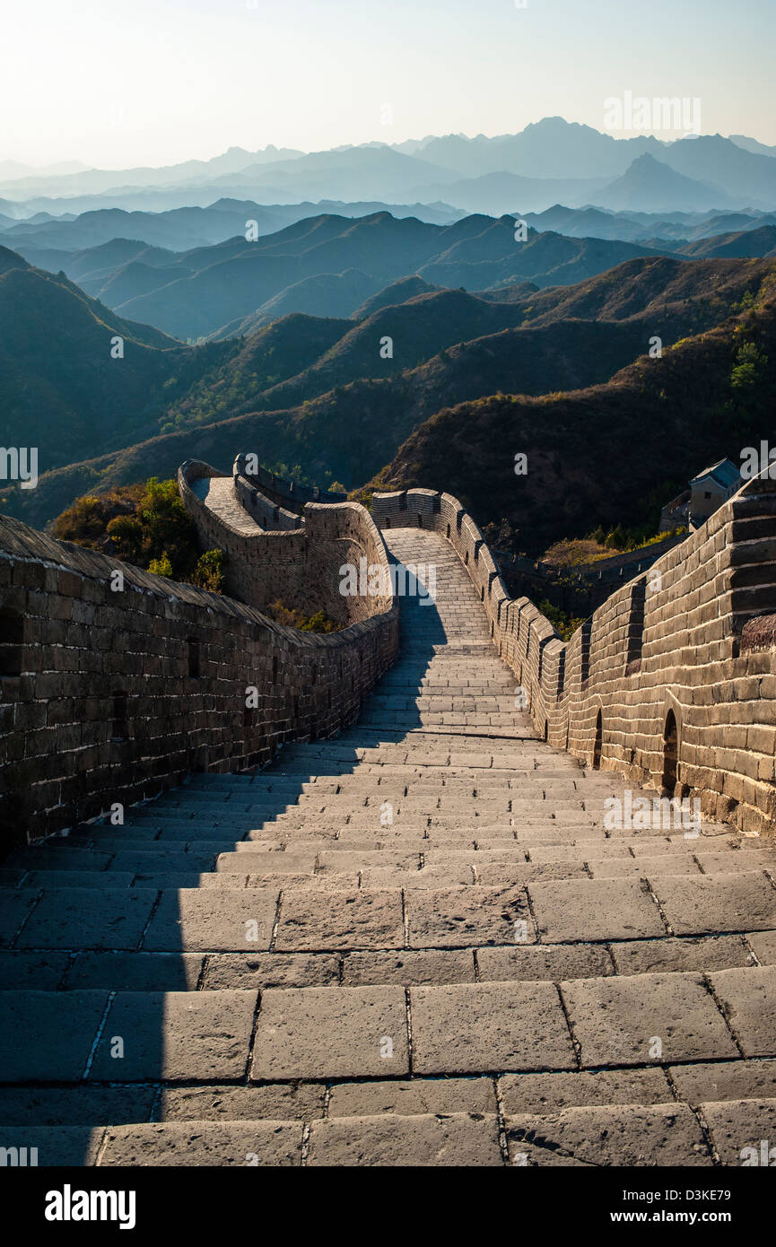 Great Wall and the mountain, Jinshanling, Hebei province - Stock Image