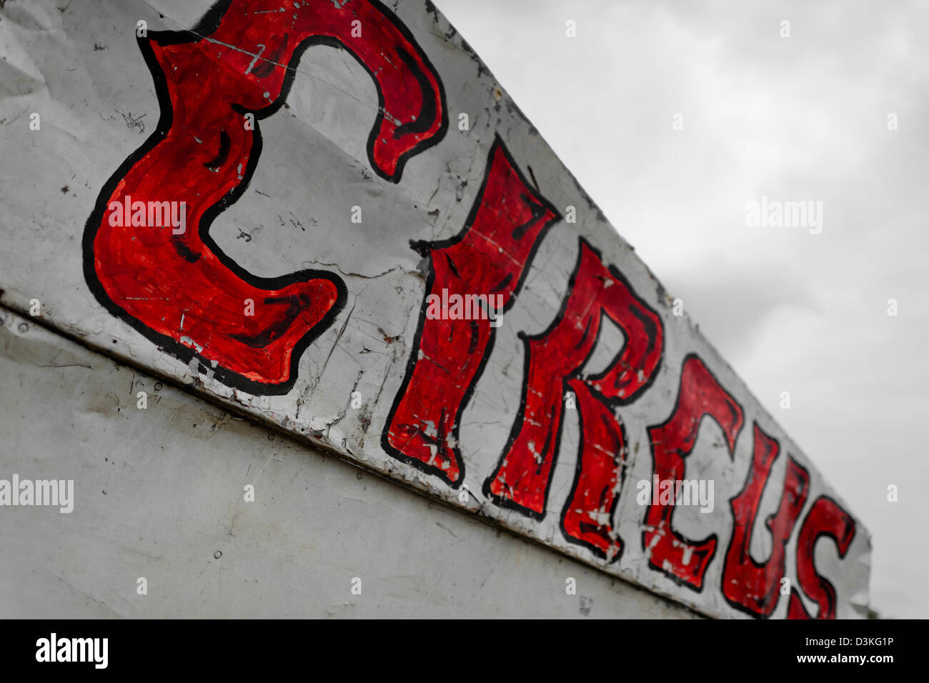 A circus sign seen at the trailer of Circo Brasilia, a family run circus travelling in Central America. - Stock Image