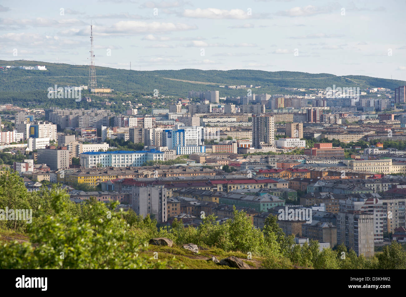 View overlooking the Russian city of Murmansk - Stock Image
