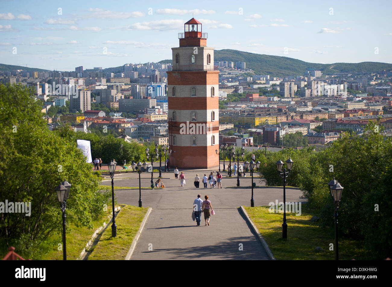 The Murmansk Lighthouse, overlooking the northern Russian city - Stock Image